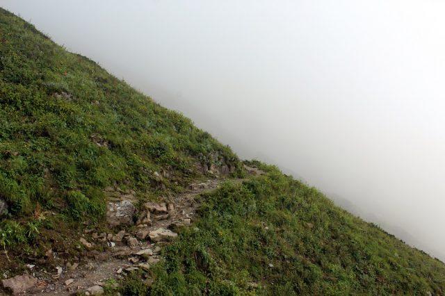Fog started to climb along